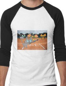 Cats Play Playing Softball! Men's Baseball ¾ T-Shirt