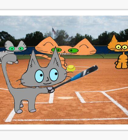 Cats Play Playing Softball! Sticker