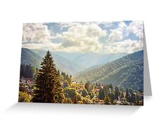 Fantasy scenery with mountains and cloudy sky. Greeting Card