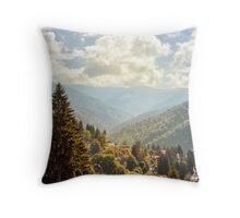 Fantasy scenery with mountains and cloudy sky. Throw Pillow