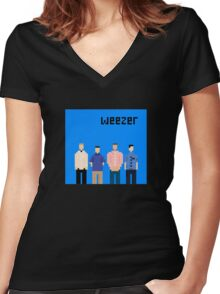 Weezer Blue 8 Bit Women's Fitted V-Neck T-Shirt