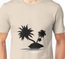 Palm Tree on Island Silhouette 3 Unisex T-Shirt