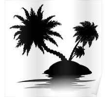Palm Tree on Island Silhouette 3 Poster