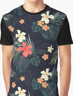 Dark tropical flowers Graphic T-Shirt