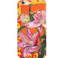 Flower, Pink, colerful, green, pink, orange, plant iPhone Case/Skin