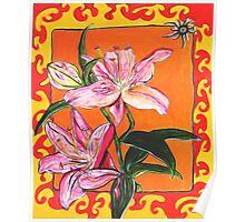Flower, Pink, colerful, green, pink, orange, plant Poster