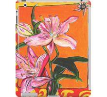 Flower, Pink, colerful, green, pink, orange, plant iPad Case/Skin