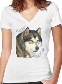Products with breeds of dogs, Alaskan Malamute Women's Fitted V-Neck T-Shirt