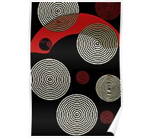Red Black Retro Pattern  Poster