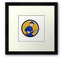 Union Army Soldier Bayonet Rifle Circle Cartoon Framed Print