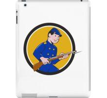 Union Army Soldier Bayonet Rifle Circle Cartoon iPad Case/Skin