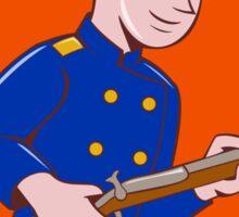 Union Army Soldier Bayonet Rifle Crest Cartoon Sticker