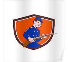 Union Army Soldier Bayonet Rifle Crest Cartoon Poster