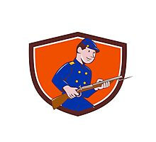 Union Army Soldier Bayonet Rifle Crest Cartoon Photographic Print