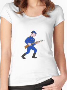 Union Army Soldier Bayonet Rifle Cartoon Women's Fitted Scoop T-Shirt