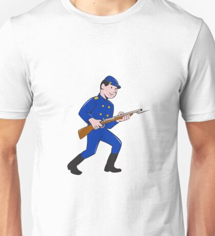 Union Army Soldier Bayonet Rifle Cartoon Unisex T-Shirt