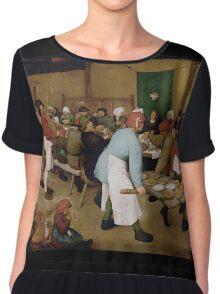 Pieter Bruegel the Elder - Peasant Wedding 1569 Chiffon Top