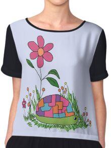 Turtle In the Flowers Chiffon Top