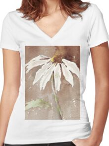 Sepia Daisy Women's Fitted V-Neck T-Shirt