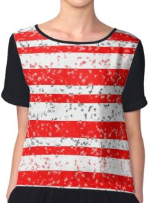 Red White Stripe Patchy Marble Pattern Chiffon Top