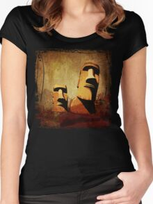 Easter Island Moai Heads Women's Fitted Scoop T-Shirt