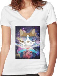 Funny Laser Gun Space Cat T-Shirt Galaxy Kitty Women's Fitted V-Neck T-Shirt