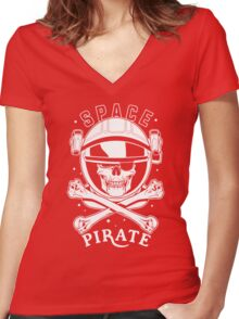 Space Pirate Women's Fitted V-Neck T-Shirt