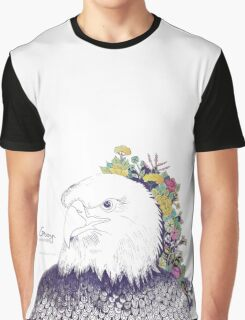 Illustrated Eagle (Flower) Graphic T-Shirt