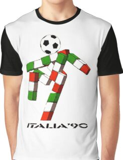Italia 90 World Cup Ciao Mascotte and write (B) Graphic T-Shirt