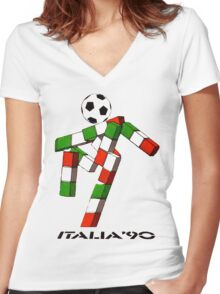 Italia 90 World Cup Ciao Mascotte and write (B) Women's Fitted V-Neck T-Shirt