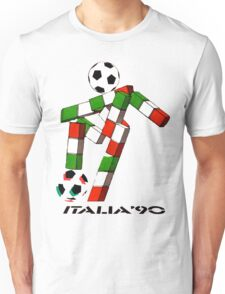 Italia 90 World Cup Ciao Mascotte with ball and write Unisex T-Shirt