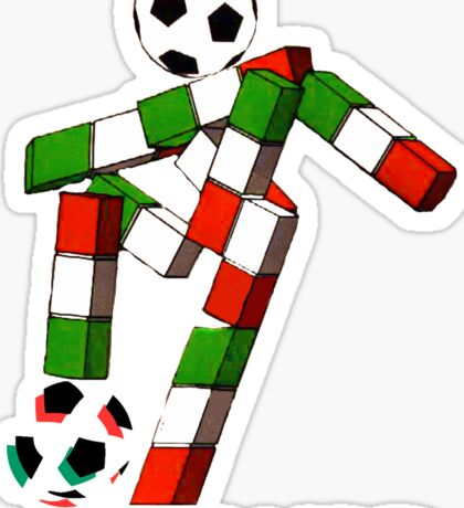 Italia 90 World Cup Ciao Mascotte with ball and write Sticker