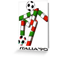 Italia 90 World Cup Ciao Mascotte with ball and write Greeting Card