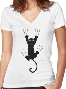 Funny Black Angry Cat T-Shirt I Love Cats Cute Graphic Tee  Women's Fitted V-Neck T-Shirt