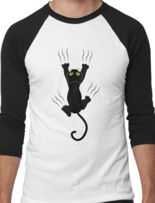 Funny Black Angry Cat T-Shirt I Love Cats Cute Graphic Tee  Men's Baseball ¾ T-Shirt