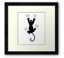 Funny Black Angry Cat T-Shirt I Love Cats Cute Graphic Tee  Framed Print