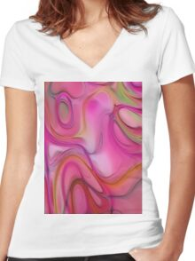 Digital soft abstract pattern Women's Fitted V-Neck T-Shirt