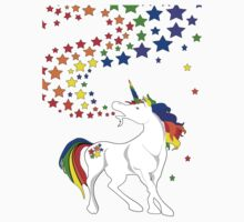 Gay Pride Unicorn Spewing Rainbows & Stars Kids Tee