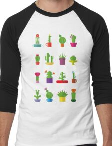 Funny Cactus  Men's Baseball ¾ T-Shirt