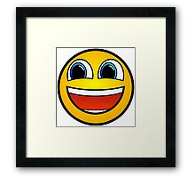 Happy Smile Emoji Smiley Face Be Happy Hipster Geek Funny Sticker Framed Print