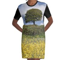 TREE ON A GOLDEN HILL Graphic T-Shirt Dress