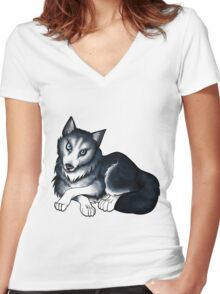 Husky Women's Fitted V-Neck T-Shirt