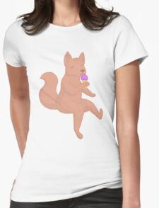 wolf eating sorbet! <3 Womens Fitted T-Shirt