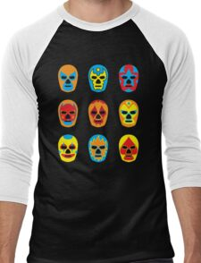 Lucha Libre • Mexican Wrestling Pop Masks Men's Baseball ¾ T-Shirt