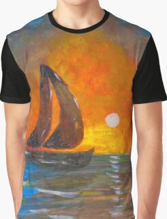 A boat sailing against a vivid colorful sunset  Graphic T-Shirt