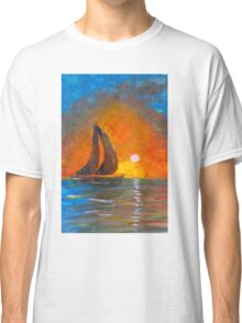 A boat sailing against a vivid colorful sunset  Classic T-Shirt