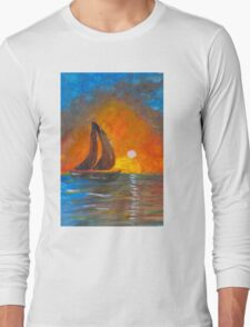 A boat sailing against a vivid colorful sunset  Long Sleeve T-Shirt