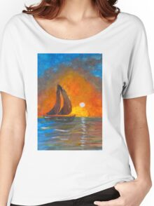 A boat sailing against a vivid colorful sunset  Women's Relaxed Fit T-Shirt