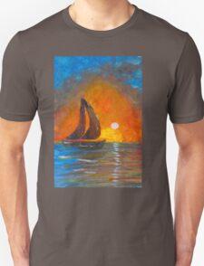 A boat sailing against a vivid colorful sunset  Unisex T-Shirt
