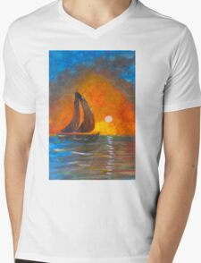 A boat sailing against a vivid colorful sunset  Mens V-Neck T-Shirt